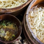 Udon Noodles served up with a special sauce and ready to eat at Shoganji Temple, Japan.