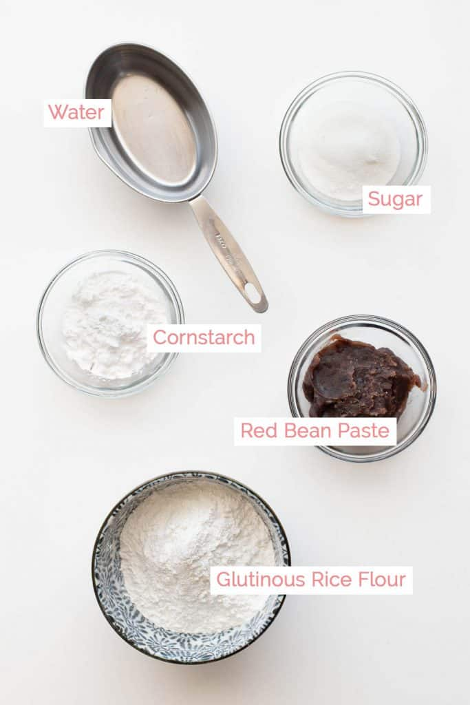 Ingredients laid out for daifuku mochi.