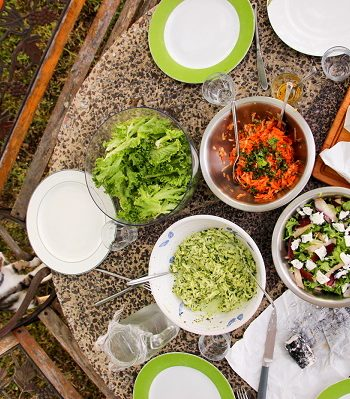 Our range of salads at Chateau Feely ready to eat.