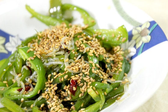 Chirimenjako Fish and Capsicum Recipe - topped with sesame seeds this dish is ready to eat.