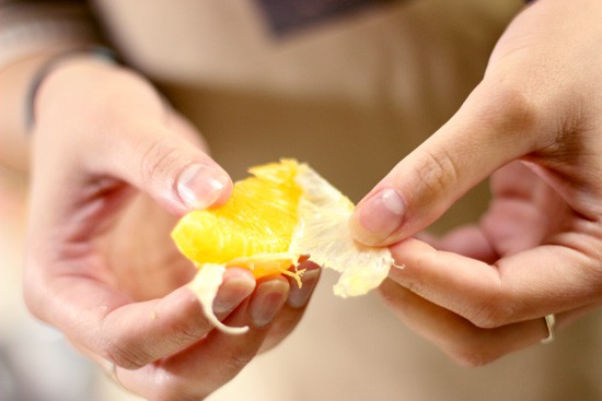 Japanese Tomato Orange Salad Recipe - peeling the oranges is something we hadn't done before.