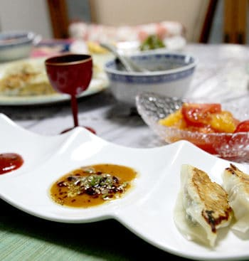 Pork Gyoza Recipe - served up with chilli and soy dipping sauces.