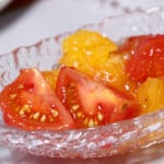 Gelatinous Tomato and Orange Salad - served and ready to eat.