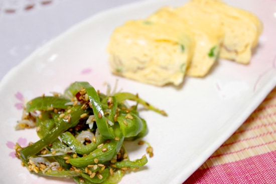 Chirimenjako Fish and Capsicum Recipe - served with rolled egg omelette is a perfect balance of spicy and creamy.