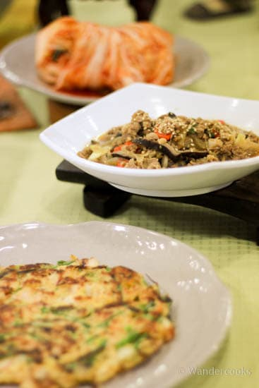 Korean Cooking Class - From front to back: Pajeon, Bulgolgi and Kimchi.