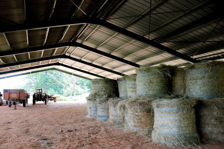 Capadau Organic Pork Farm - The large holding area for the straw and farm equipment.