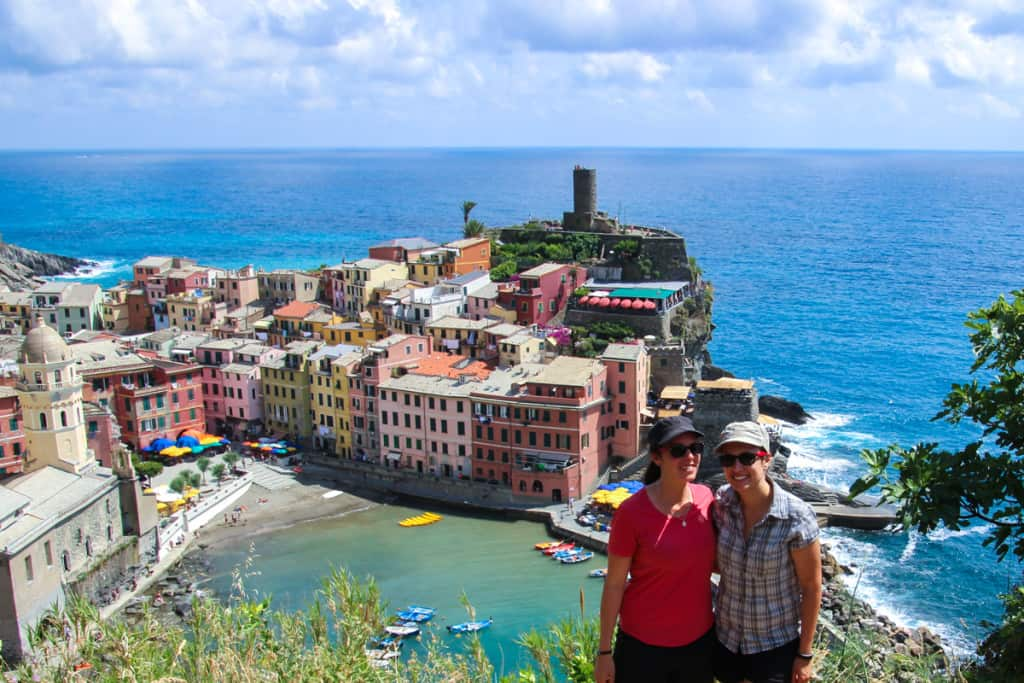 Hiking up to the viewpoint in Vernazza, Cinque Terre, Italy.