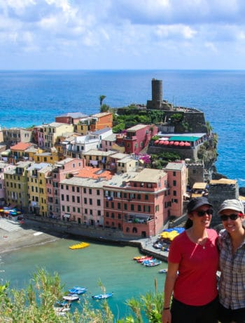 Hiking up to the viewpoint in Riomaggiore, Cinque Terre, Italy.