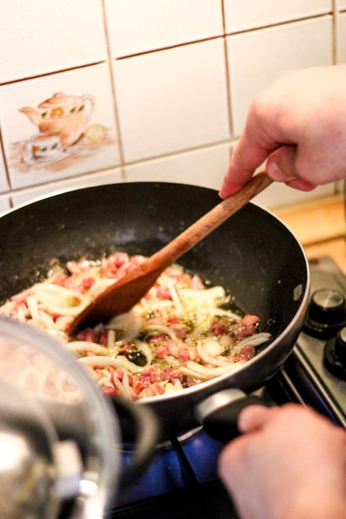 Amatraciana Recipe - Frying off the onion and pancetta sets the perfect base for the sauce.