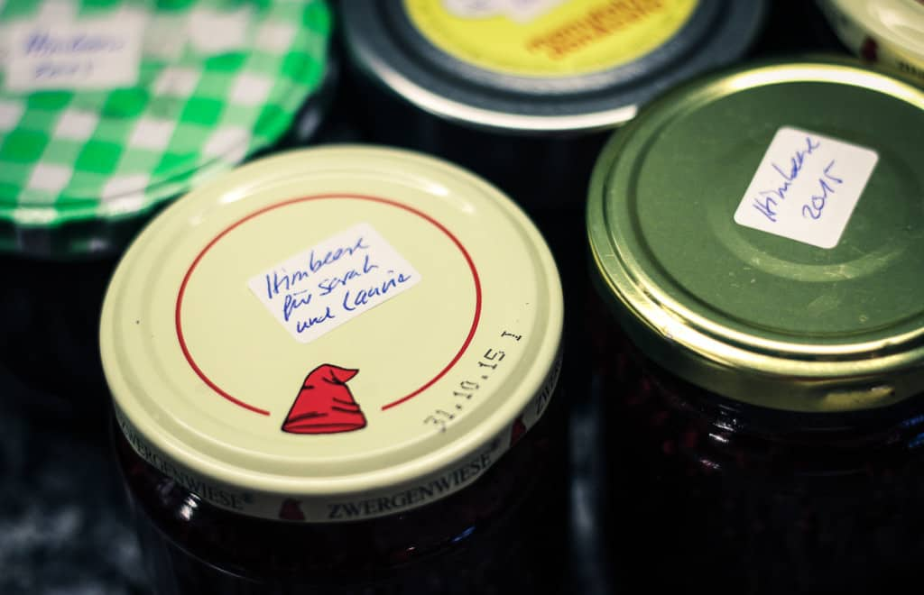 Raspberry Jam Recipe - All labelled and ready to eat.