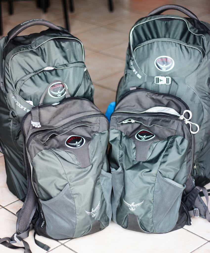 Travel Packing List - The Osprey Farpoint 55 is our choice for extended travelling for a year through Europe and Asia.