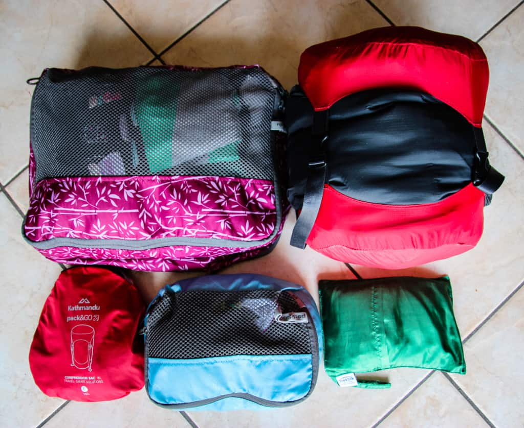 Travel Packing List - The clothes - decompressed and compressed.