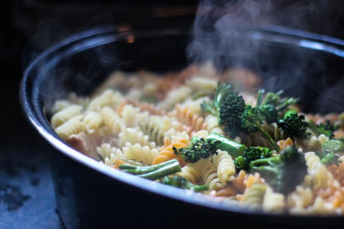 Chicken & Asparagus Pasta Bake - Sauteed asparagus and broccolini layered on top of piping hot pasta.