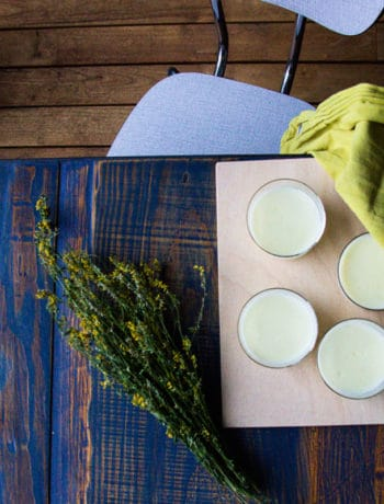 Wildflower Blanc Manger Recipe - Allowing the liquid to set in individual portions.
