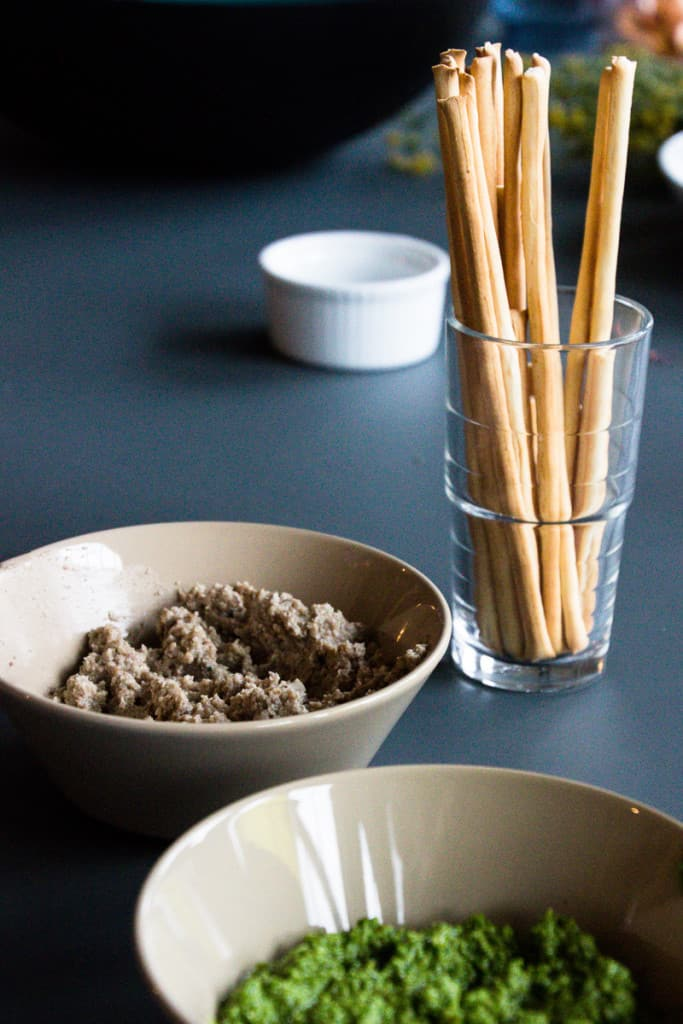 Mushroom and Pesto Dip - A perfect party starter, there were at least four packets of breadsticks consumed for these alone.