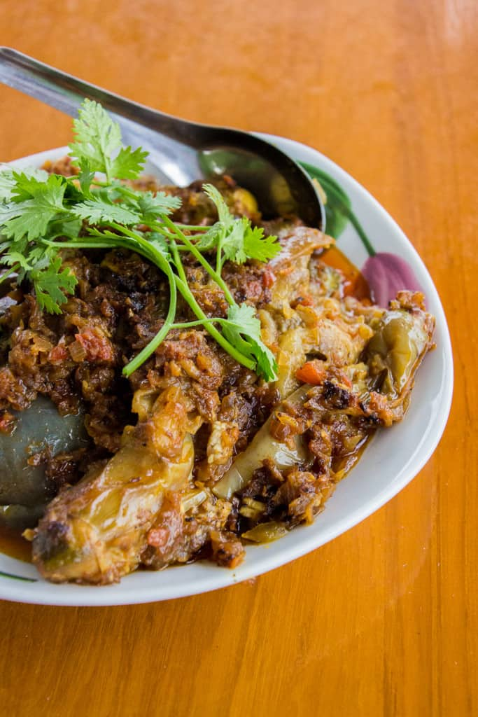 Decadent Christmas Dinners: Burmese Eggplant Curry - This brown dish is sure to become a new family favourite. Vegetarian. | wandercooks.com