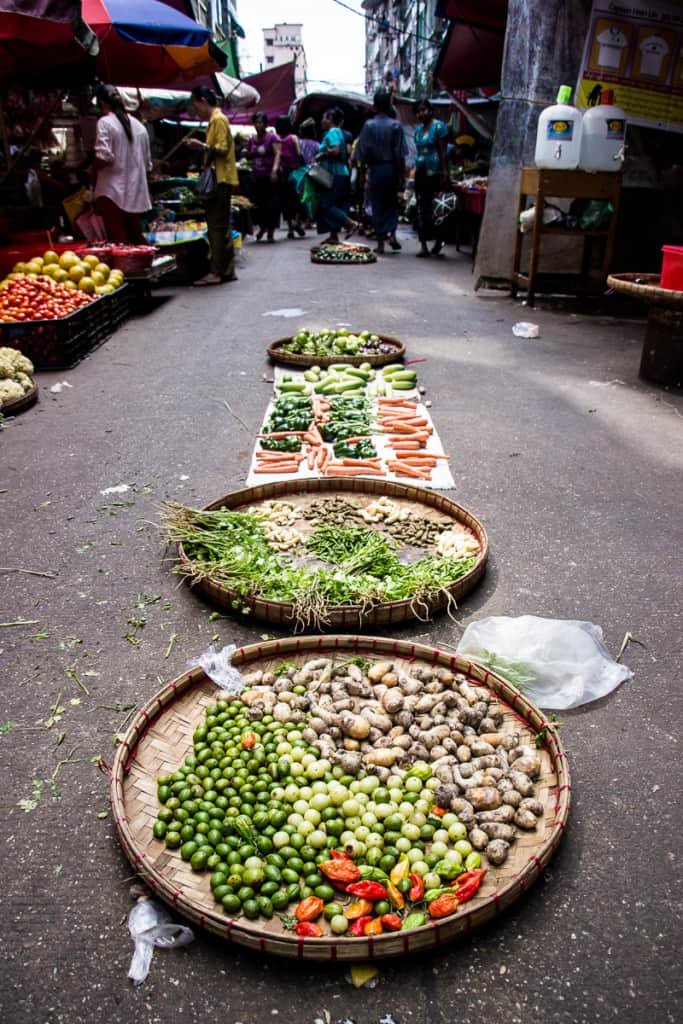 Burmese Food Week - Fresh vegetables at the markets perfect for our Burmese food adventure.
