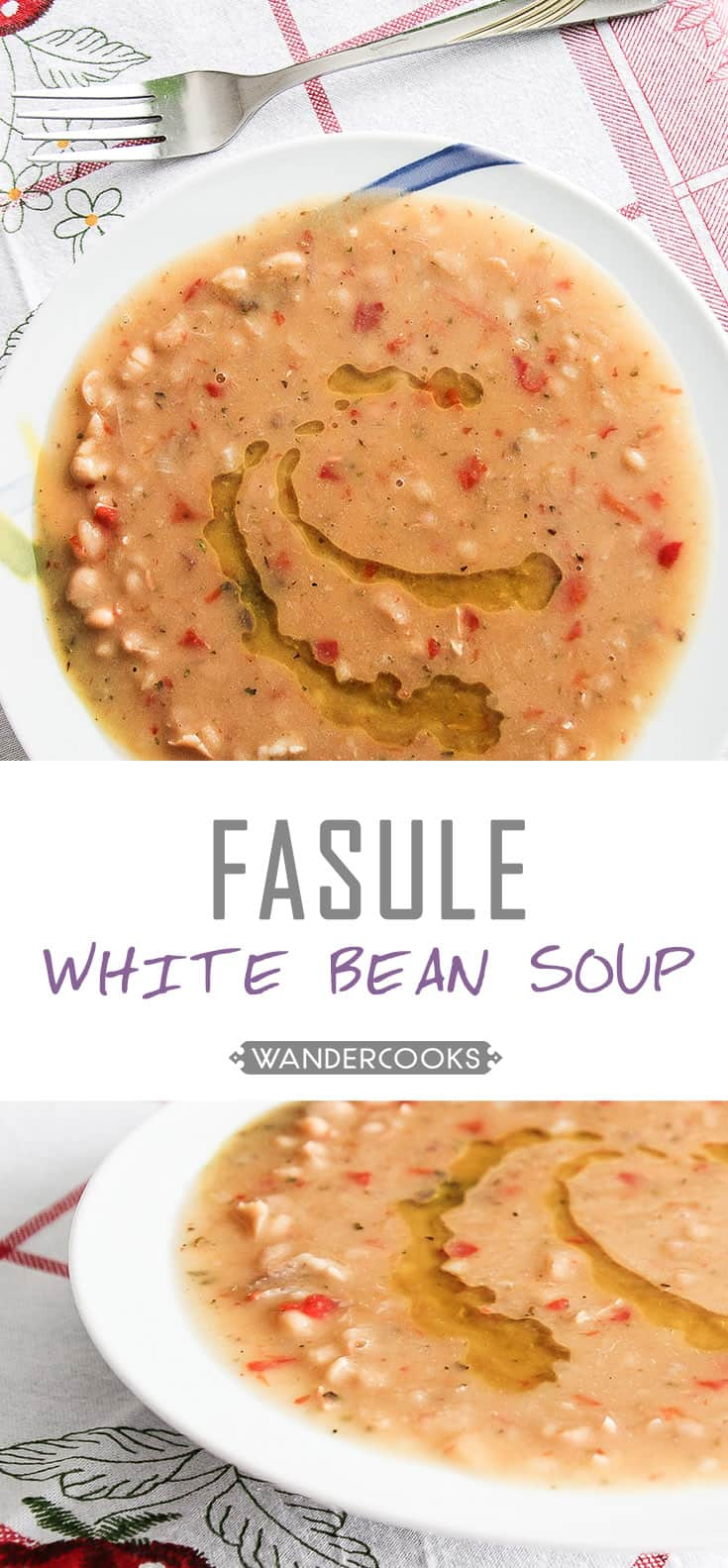 Jani Me Fasule - Albanian White Bean Soup- a light yet filling lunch or dinner that tastes even better the next day. | wandercooks.com