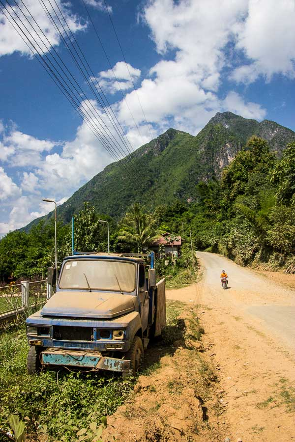 10 Months Eating on the Road - An abandoned truck on the side of the road in Nong Khiaw, Laos.
