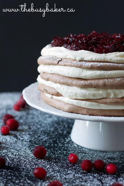 International Christmas Desserts - Chocolate Spice Meringue Torte by The Busy Baker