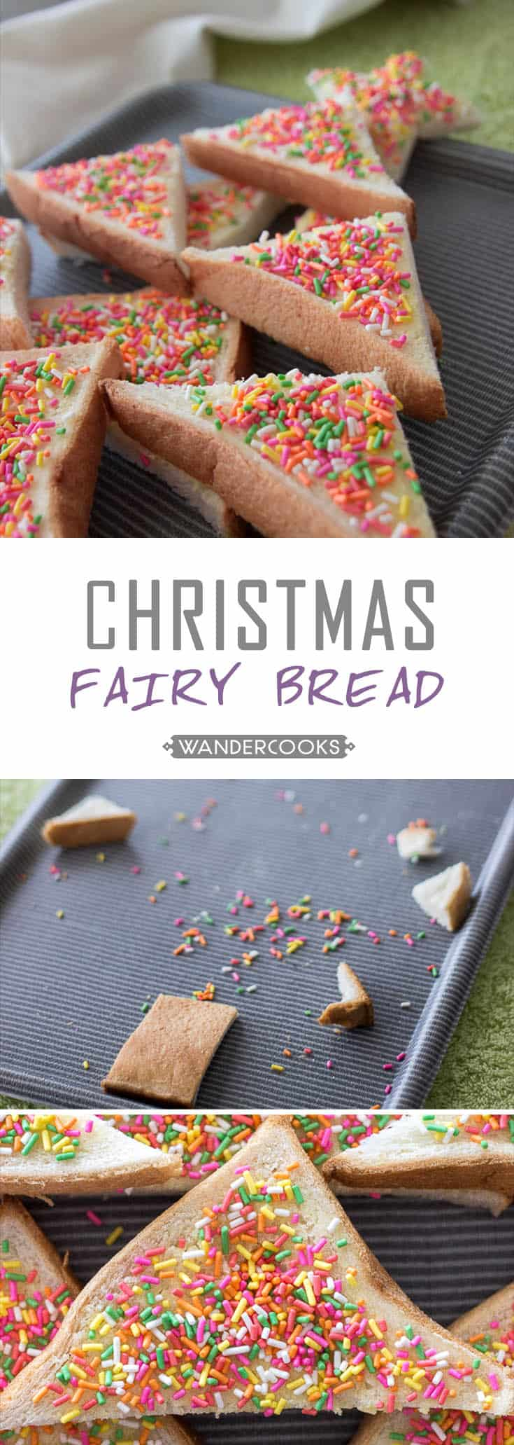 Australian Christmas Fairy Bread - It's crunchy, it's creamy, it's fluffy and let's face it - it's the next best thing since sliced bread. Christmas themed & Vegetarian. | wandercooks.com