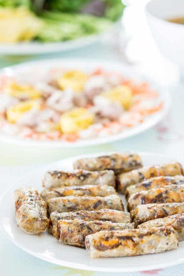 Crispy Vietnamese spring rolls on a plate.