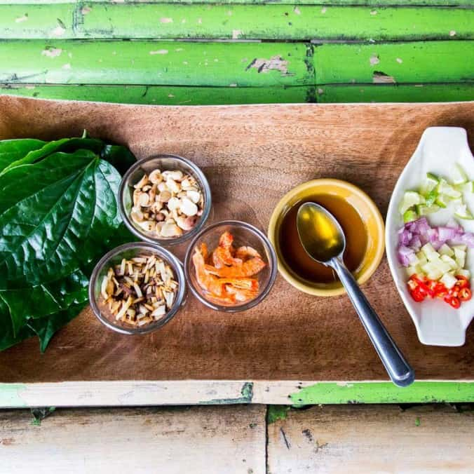 Miang Kham (Thailand In One Bite) - A tasty hands-on snack or appetiser perfect for a summer party to impress your friends. What a quirky salad! | wandercooks.com