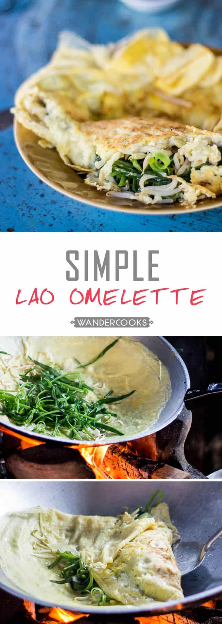 Simple Lao Omelette - This fluffy egg delight is stuffed full of veggies to keep you satisfied all afternoon. Vegetarian. | wandercooks.com