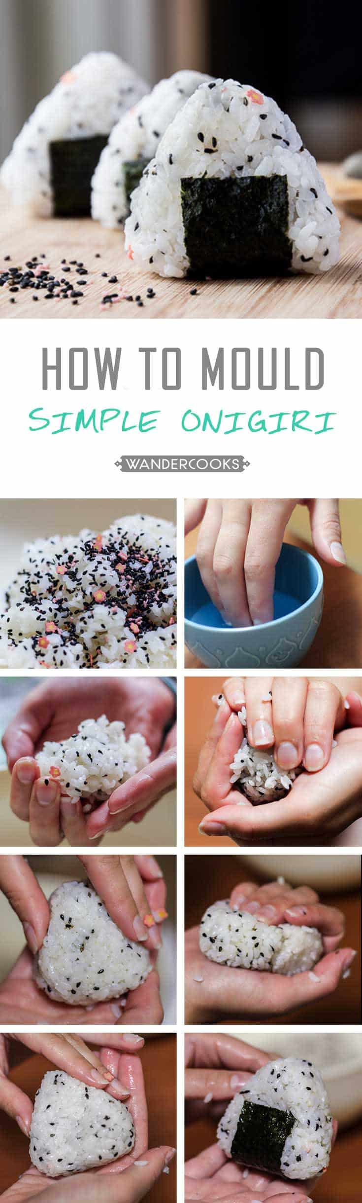 Detailed step-by-step collage of how to make this onigiri recipe.