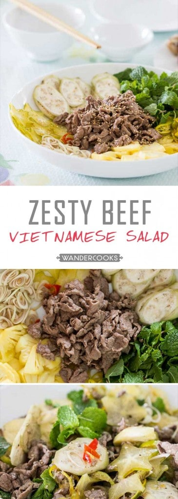 Zesty Vietnamese Beef Salad - One bite of this side dish will have your taste buds ZINGING with its tender marinated beef, juicy fruits and gorgeous Vietnamese herbs. Healthy. | wandercooks.com