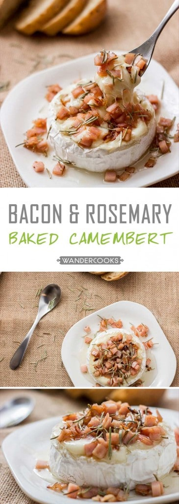 Honey Baked Camembert with Bacon and Rosemary - What a recipe. This dish simply OOZES with a fantastic combination of honey and creamy cheesy camembert goodness. Add some salty bacon, and your friends will be DYING to know this quick and simple recipe. | wandercooks.com