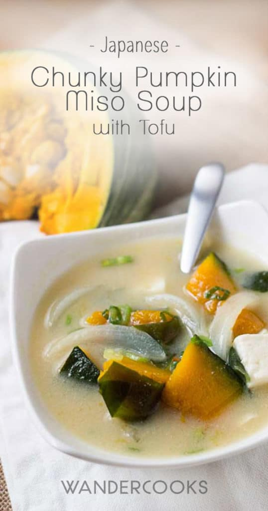 Chunky Pumpkin Miso Soup with Tofu - Move aside Ramen, this homemade miso recipe is ready to warm you up. The benefits of miso are HUGE. Don't miss out on these benefits with nutrient filled ingredients like pumpkin, tofu and of course - DASHI! Pescatarian. | wandercooks.com #pumpkinrecipe #japanese #pumpkin #tofu #miso #wandercooks