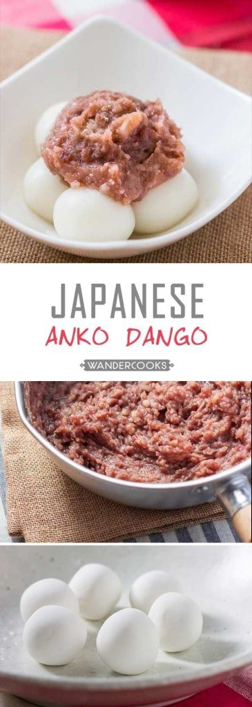 Red Bean Paste with Rice Flour Dumplings (Anko Dango) - A deliciously sweet treat you'll find everywhere in Japan! This sweet red bean paste goes amazingly with soft chewy rice flour dumplings that are SO EASY to make. | wandercooks.com