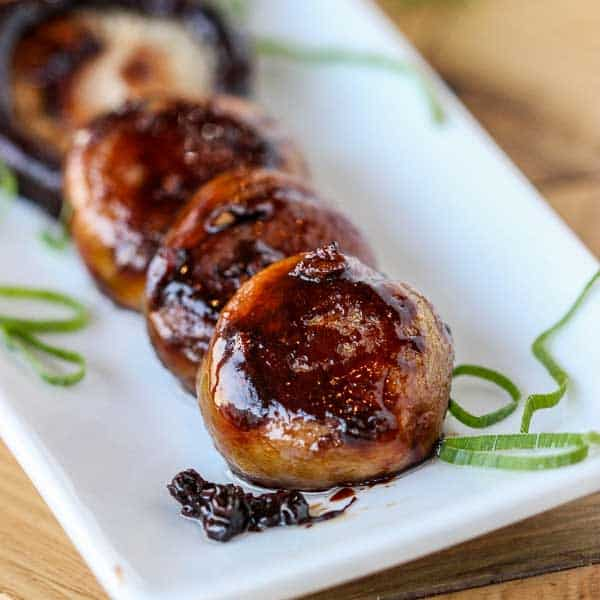 Mushrooms cooked with a sticky soy glaze.