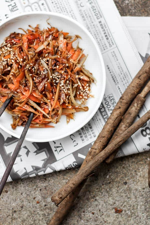 Japanese Burdock and Carrot Stir Fry (Kinpira Gobo) - It's vegan. It's vegtastic. From wok to plate before you've finished reading the recipe, this is the Asian side dish you've been waiting for. Healthy. Vegetarian. | wandercooks.com