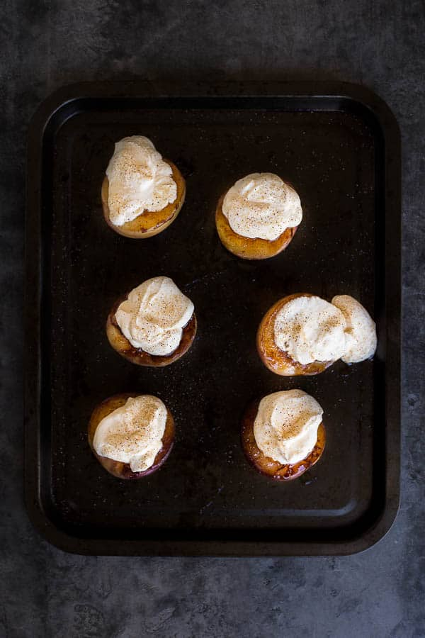 Cinnamon Grilled Peaches with Sour Cream | Wandercooks