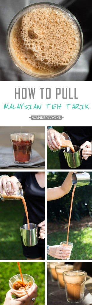 "Step by step collage showing how to ""pull"" Malaysian teh tarik."