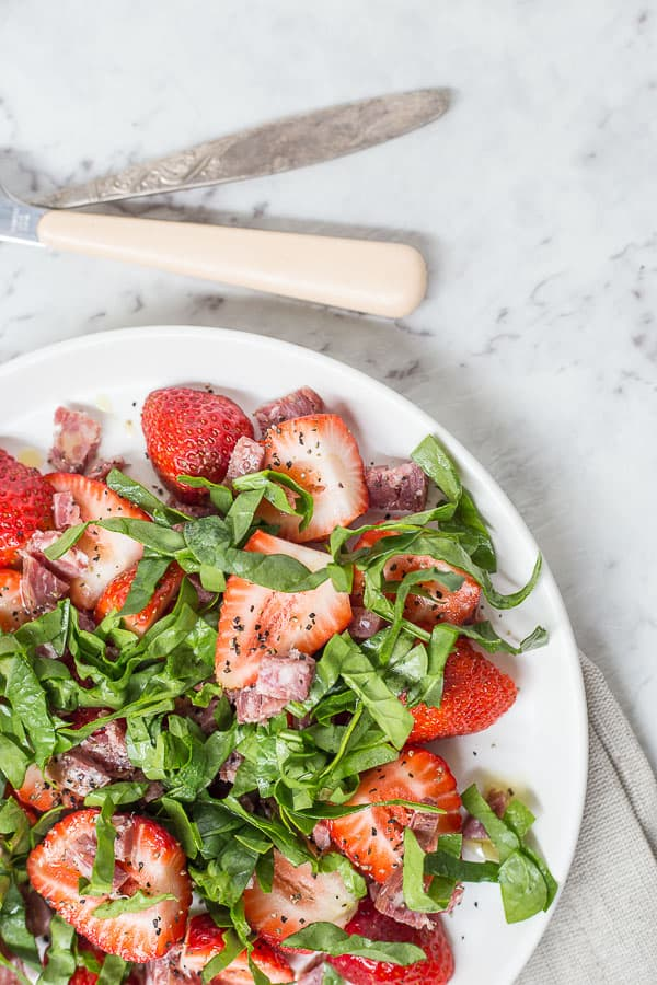 Simple Japanese Strawberry & Salami Salad - A light and fresh summer salad, ready in 5 minutes and set to BLOW your tastebuds out the water.| wandercooks.com