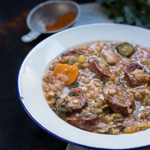 Slovenian Sausage & Vegetable Barley Soup (Ričet) - Thick, hearty and nourishing, this soup is packed full of warming flavour and healthy nutrients. It can also be prepared vegetarian or vegan. | wandercooks.com