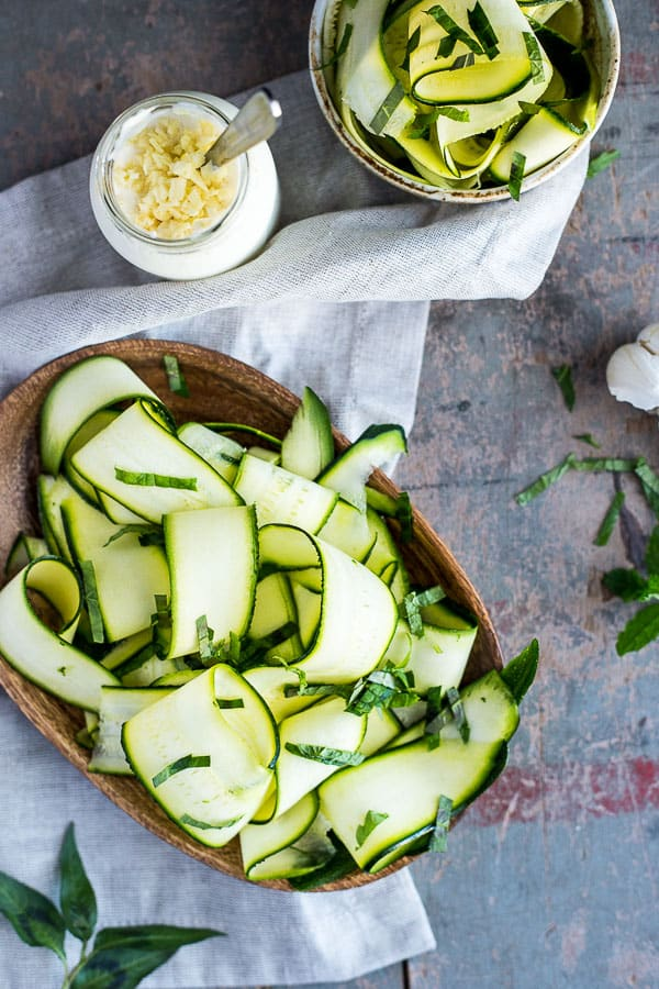 French Zucchini Salad (Salade de Courgette) - A light and fresh recipe, perfect for a summer's afternoon. Ready in 5 minutes, it's side dish perfectly matched to a heavy meal. Vegetarian | wandercooks.com