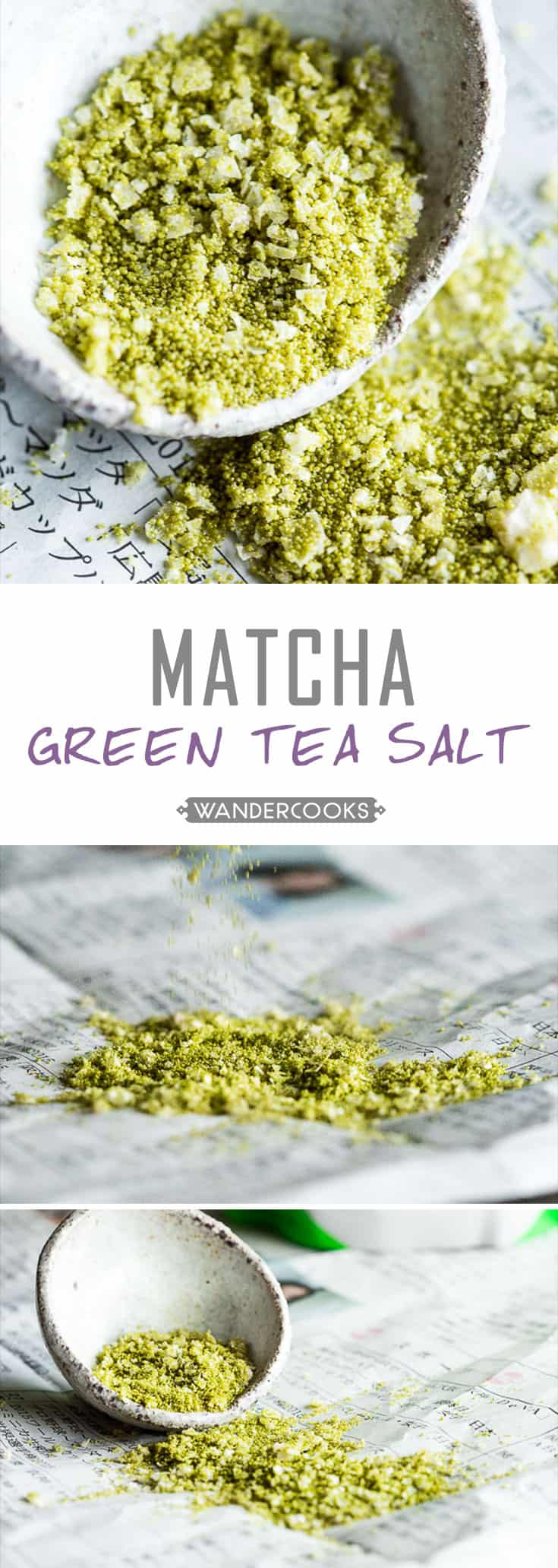 Japanese Matcha Green Tea Salt - Mix and matcha this seasoning recipe to a variety of dishes including popcorn, meat, tempura - or even on your fruit. A simple, quick sprinkle adds an awesome umami kick. Vegan & Vegetarian. | wandercooks.com
