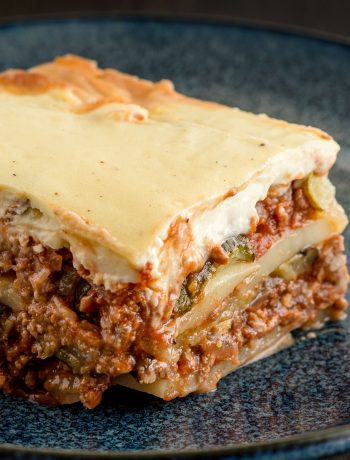 Close up of Greek moussaka with all the juicy layers.