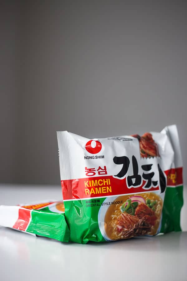 Instant ramen noodles in their packet.
