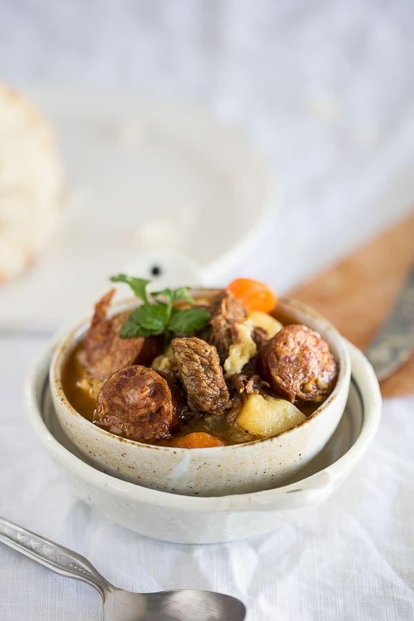 Authentic Hungarian Goulash (Gulyas) - A hearty, winter meal filled with fantastic paprika and spice flavour. The beef melts in your mouth, so get out your crusty bread and dip it in!   wandercooks.com