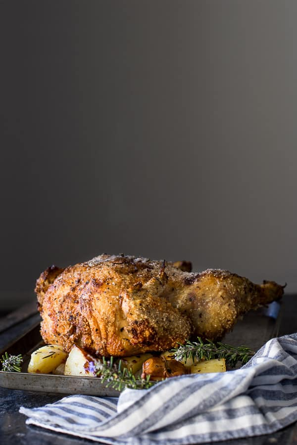 Italian Roast Chicken (Dry Salt Roasted Chicken) - Crispy skin and juicy meat awaits, no oil required. | wandercooks.com