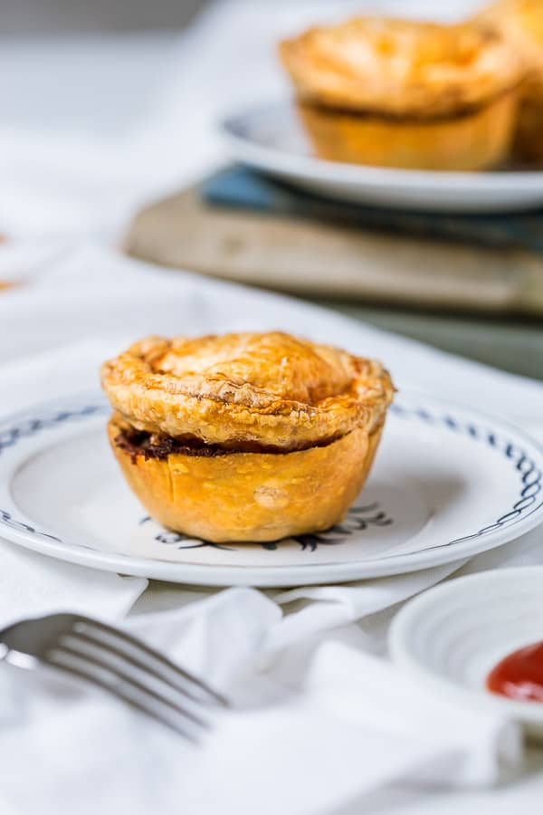 Freshly baked mini meat pie on a plate