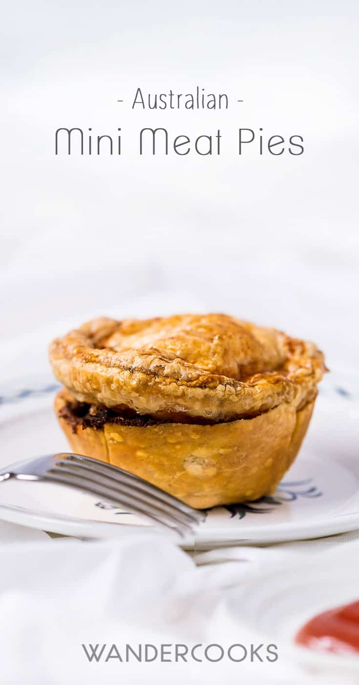 Australian Mini Meat Pies - These Mini Meat Pies are so easy to make and taste better than anything you could buy at a store. Crispy flaky pastry meets beef gravy perfection in these tastiest pies you\'ll ever eat. Plus they freeze perfectly for make-ahead party food or a quick snack straight when you need them most.| wandercooks.com #partypies #minimeatpies #beefpies #australianfood