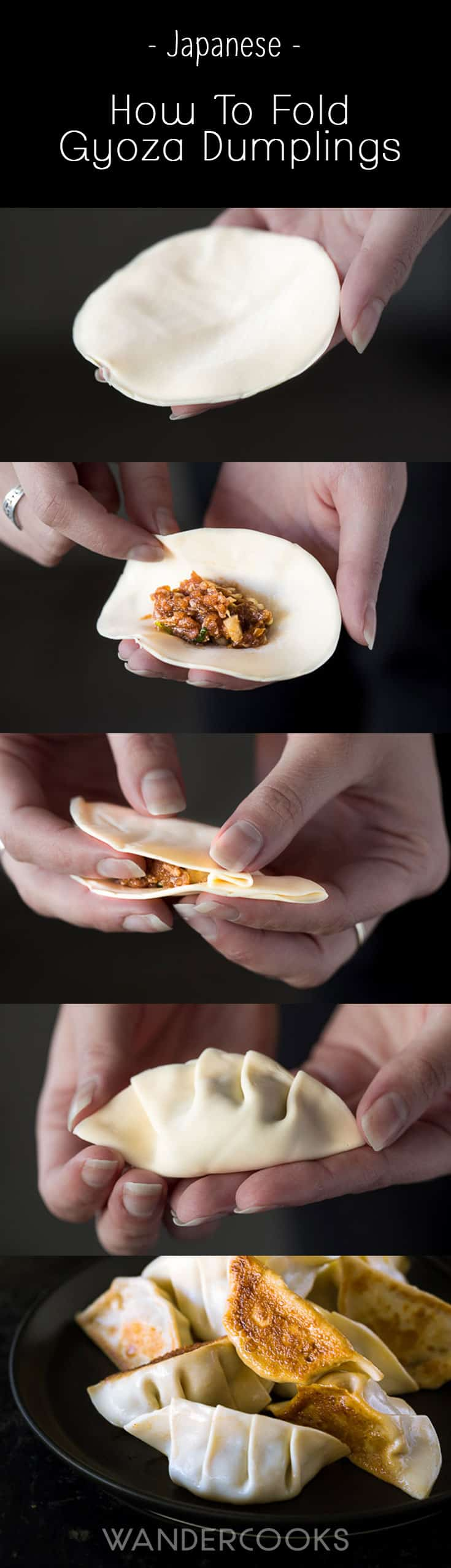 Collage of images showing how to fold pork gyoza dumplings