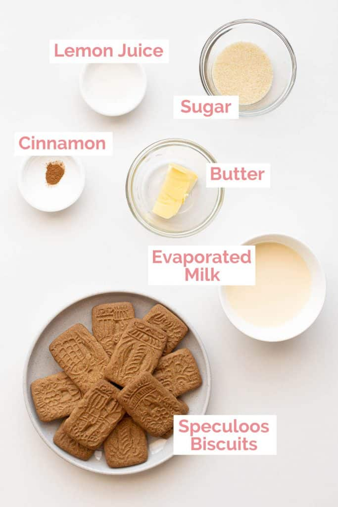 Ingredients laid out to make speculoos cookie butter.