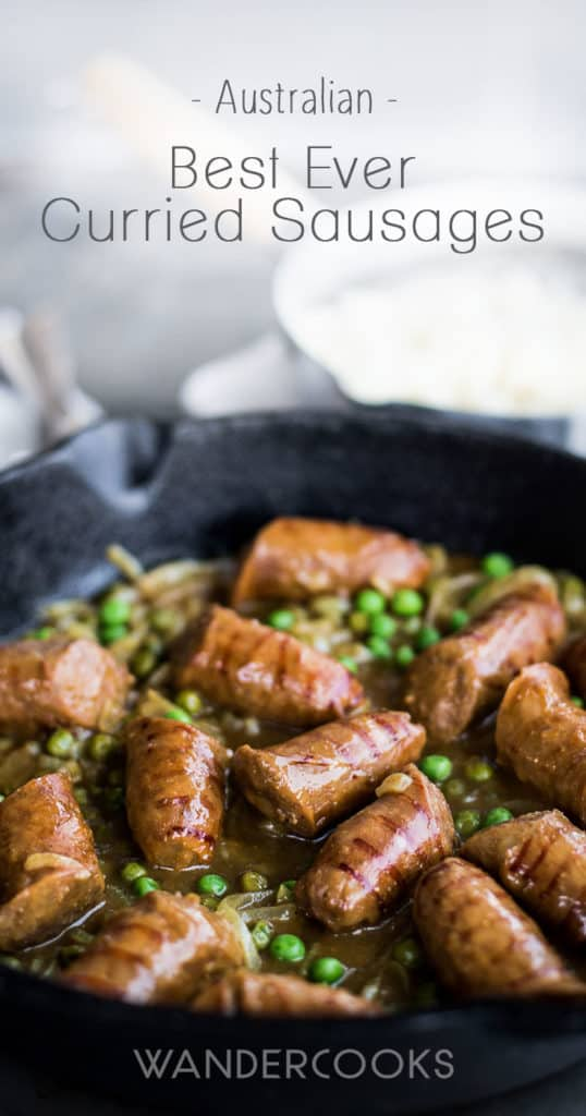 Best Ever Australian Curried Sausages - Grilled sausages, onion slivers and green peas smothered in a thick curry gravy – it's a satisfying and nourishing dinner your whole family will love. | wandercooks.com